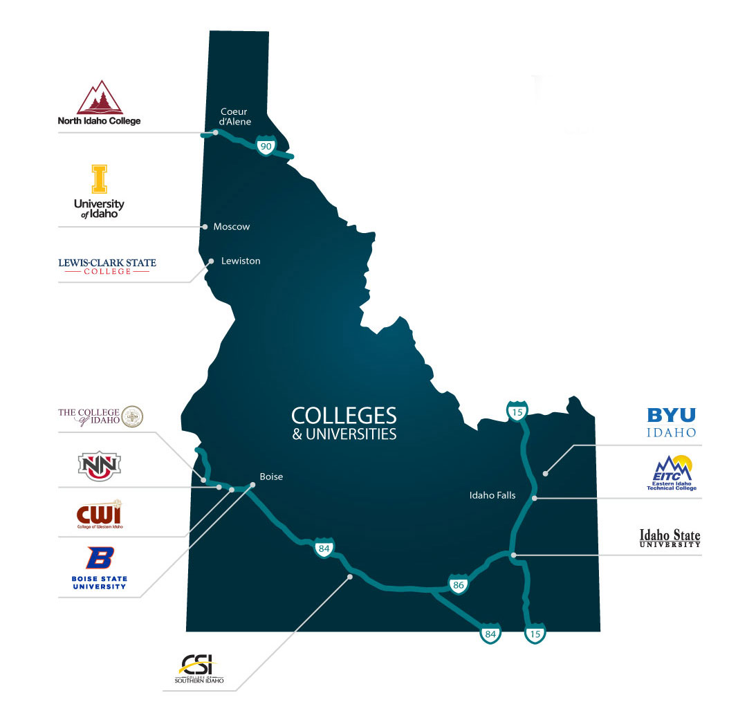 Idaho Colleges and Universities - Idaho Commerce on siena italy location on map, higher education map, ncaa division 1 basketball map, seaport district map, football map, nfl map, secret santa map, ged map, nba map, military demographics map, military academy map, united states universities map, polytechnic map, safe house map, summer vacation map, washington bridge map, geneseo parking map, university map,